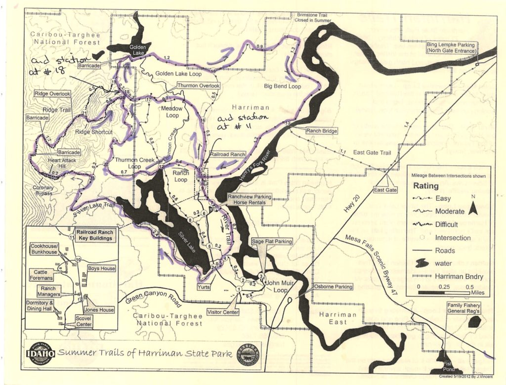 Harriman State Park Idaho trail race map.