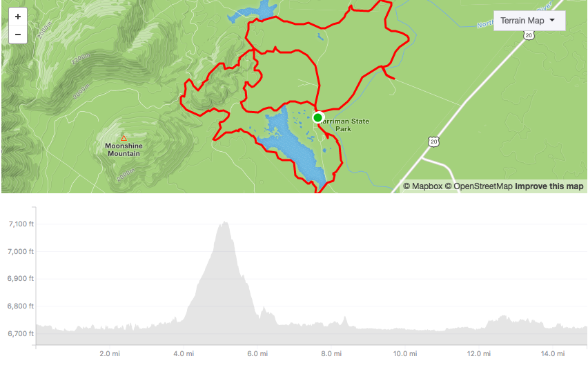 Harriman 25k Map and Elevation profile
